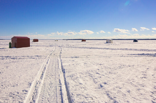 ice fishing huts on lake simcoe
